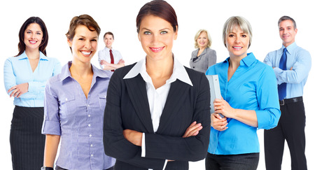 Young smiling business women group isolated white background