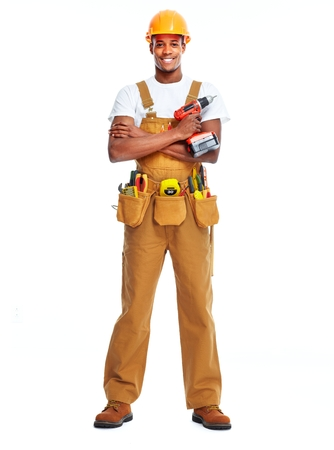 African American worker man isolated white background. Construction
