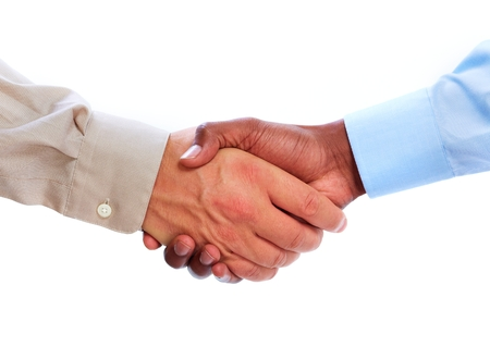 Handshake. Hands of businessman isolated on white background