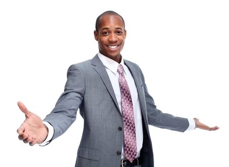 Happy young African-American man isolated white background