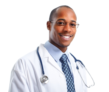 African-American Medical doctor man isolated white background