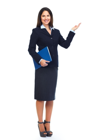 Young business woman presenting copy space. Stock Photo