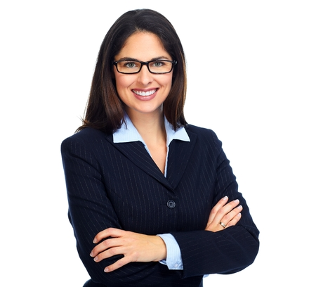 Young business woman with eyeglasses.