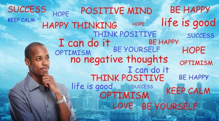 Positives Denken schwarzen Mann Standard-Bild - 35195384