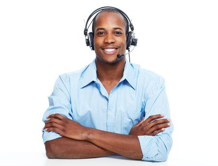 Call center operator man. 스톡 콘텐츠