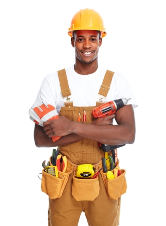 Handyman isolated white background. Stock Photo