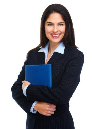 Junge Geschäftsfrau mit Ordner.