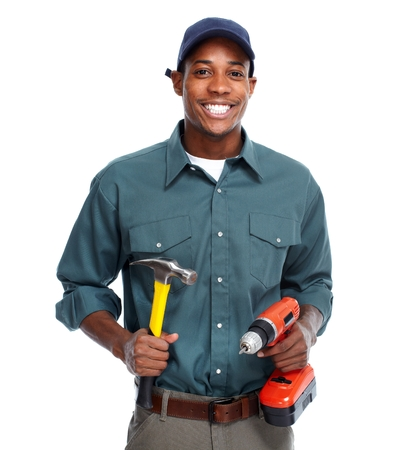 Handyman isolated white background. Banco de Imagens