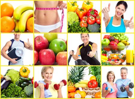 減量とダイエットをコラージュします。 写真素材