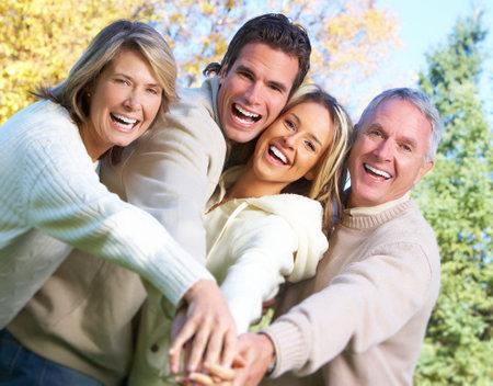 Happy family in the park. 版權商用圖片
