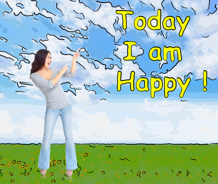 Positive happy woman on abstract background.