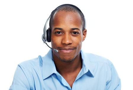 Call center operator man. Zdjęcie Seryjne