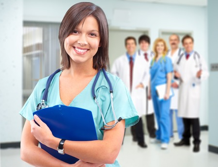 Health care medical doctor woman. Stock Photo