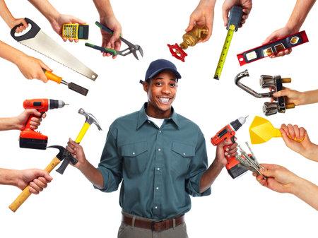 Construction worker with tools 版權商用圖片 - 36561474