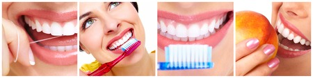 Teeth with toothbrush. 版權商用圖片