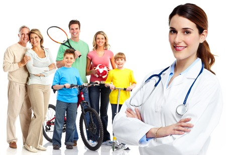 Medical family doctor and patients. 스톡 콘텐츠