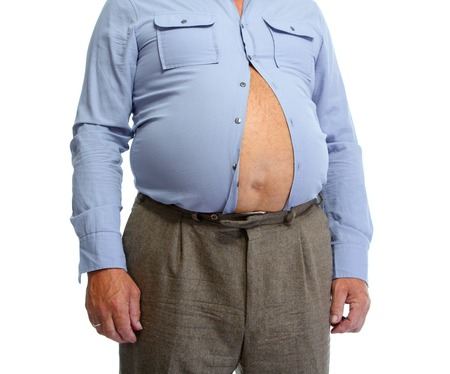 Hombre mayor con la grasa del estómago. Pierde el concepto de peso. Foto de archivo - 44641274