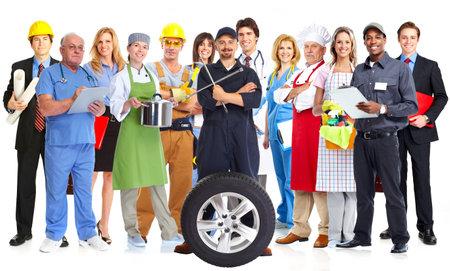 Grupo de personas de los trabajadores aislado fondo blanco. Trabajo en equipo. Foto de archivo - 44873407