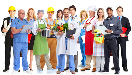 Group of workers people isolated white background. Teamwork. Stockfoto