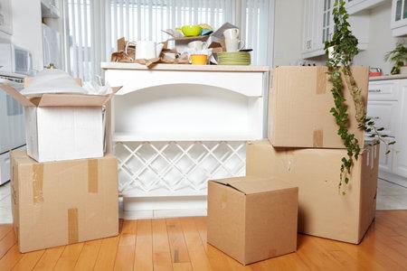 새 집에 상자를 이동. 새 아파트 배경입니다. 스톡 콘텐츠 - 44803835