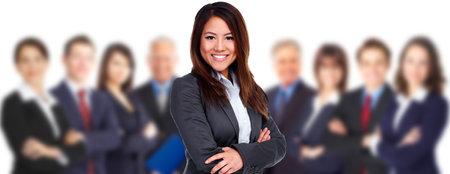 La mujer y el grupo de personas de negocios. El trabajo en equipo de fondo. Foto de archivo - 44873816