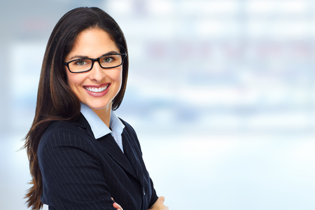 Young executive Business woman. Success and education background. Stock Photo