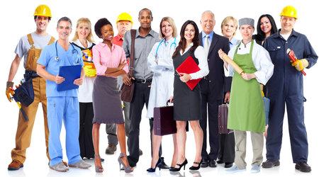 Gruppo di persone di lavoratori. Isolato su sfondo bianco Archivio Fotografico - 44873898