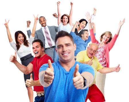 Heureux groupe de personnes joyeuses isolé fond blanc. Banque d'images