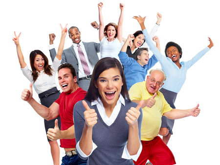 행복 즐거운 사람들의 그룹은 흰색 배경에 고립. 스톡 콘텐츠 - 45241128
