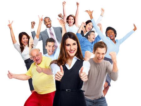 Heureux groupe de personnes joyeuses isolé fond blanc.