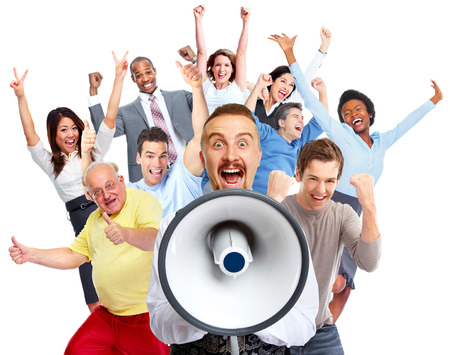 Young man talking in loud-hailer and group of happy people. Archivio Fotografico