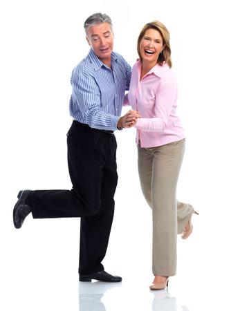 행복 한 사랑의 노인 커플을 격리 된 흰색 배경 춤. 스톡 콘텐츠
