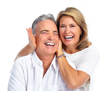 Heureux couple de personnes âgées rire fond blanc isolé. Banque d'images - 45282097