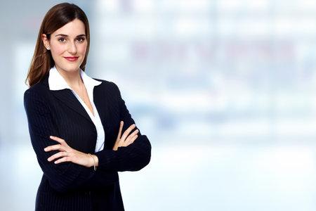 Mooie jonge vrouw bedrijfsleven. Boekhouding en financiën achtergrond. Stockfoto - 45282211