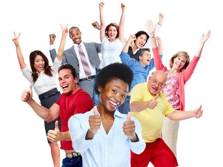 Geïsoleerd Gelukkig vreugdevolle groep mensen een witte achtergrond. Stockfoto - 45282550