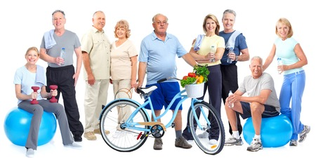 Group of elderly fitness people with bicycle isolated white background. 版權商用圖片