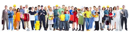 Group of workers people. Isolated on white background Stock Photo