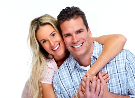 Happy Loving couple isolated over white background. Banque d'images