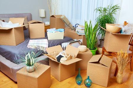新しい家で箱を動かす。不動産の概念。 写真素材