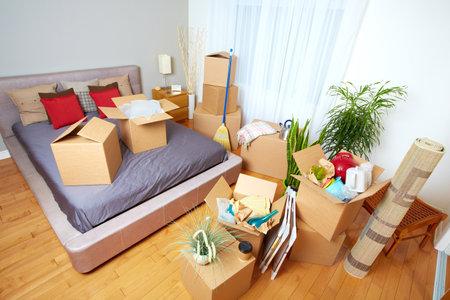 새 집에 상자를 이동. 부동산 개념. 스톡 콘텐츠 - 45284855