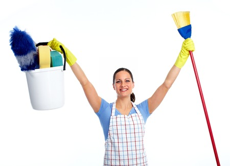 Happy maid woman with broom. House cleaning service concept.