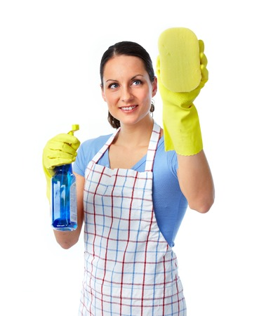 Maid woman with sponge and spray. House cleaning service concept. Reklamní fotografie