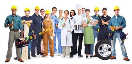 Gruppo di persone i lavoratori isolato sfondo bianco. Il lavoro di squadra. Archivio Fotografico - 45285201