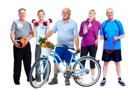 Group of elderly fitness people with bicycle isolated white background. Standard-Bild