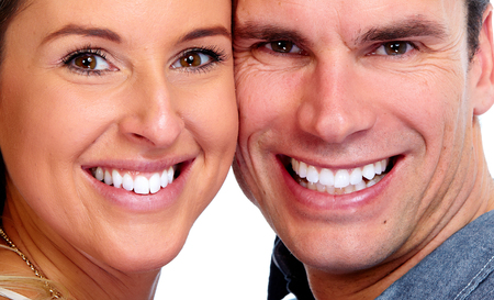 Happy Loving couple close up. Healthy white smile. Stock Photo