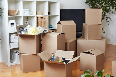 Moving boxes in new apartment. Real estate concept. Standard-Bild