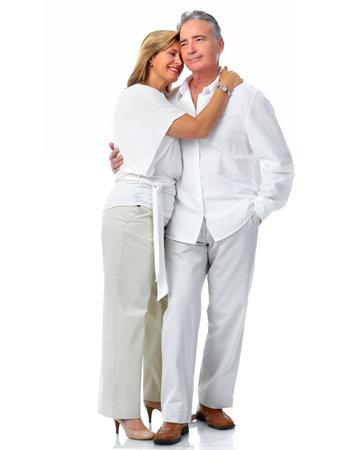 Happy loving elderly couple isolated white background. Banco de Imagens