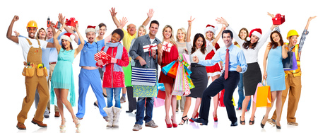 Group of happy Christmas people with gifts isolated white background Stock Photo