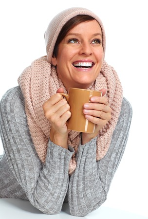 Beautiful lady with scarf and coffee mug isolated white background. Фото со стока - 45600773