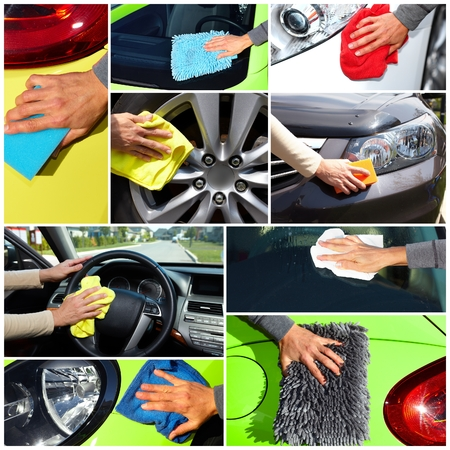 Hand with cloth washing a car. Waxing and polishing collage. Archivio Fotografico